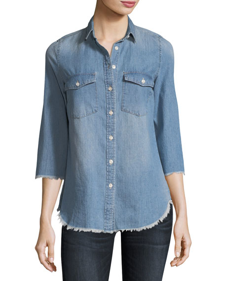 Etienne Marcel Harleth 3/4-Sleeve Raw-Edge Denim Shirt