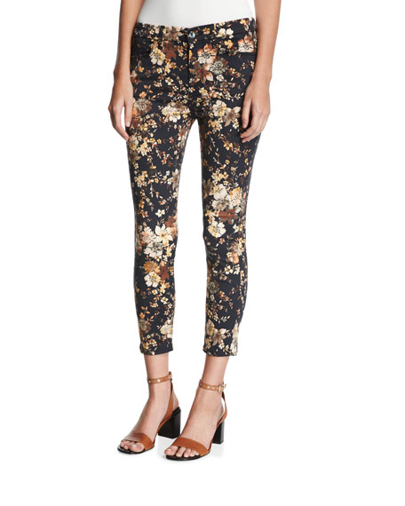 Autumn Dusk Floral-Print Skinny Ankle Jeans