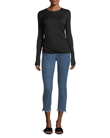Riley Skinny-Leg Crop Jeans w/ Raw-Hem