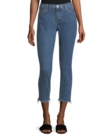 Hudson Riley Skinny-Leg Crop Jeans w/ Raw-Hem