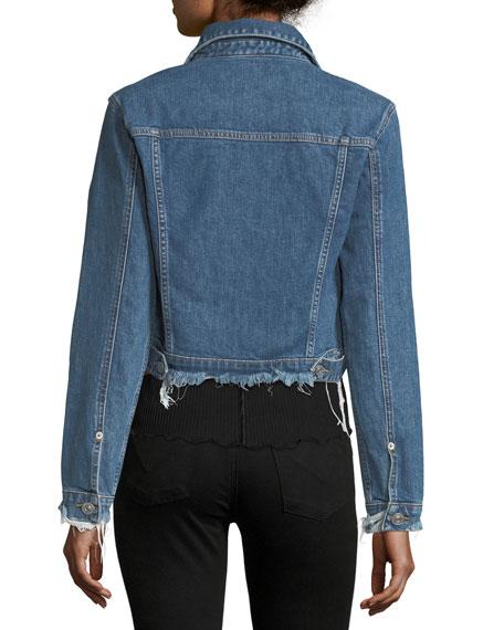 Garrison Button-Front Cropped Denim Jacket