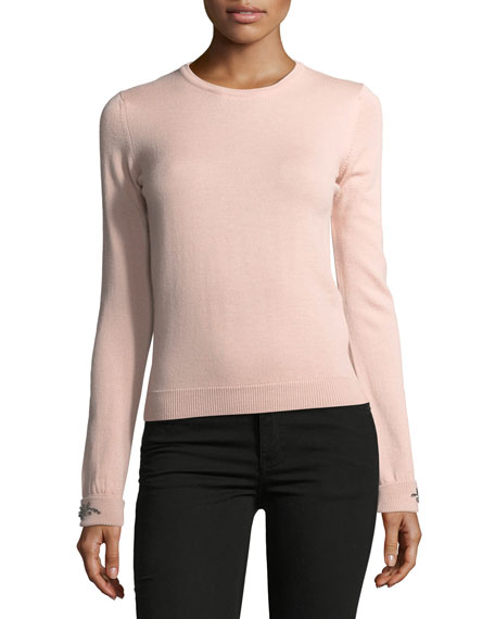 No. 21 Dolores Crewneck Long-Sleeve Knit Sweater