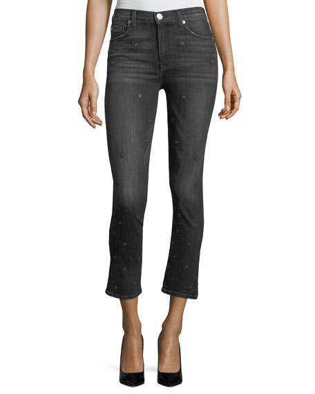 Harper High-Rise Crop Kick-Flare Jeans w/ Star Embroidery