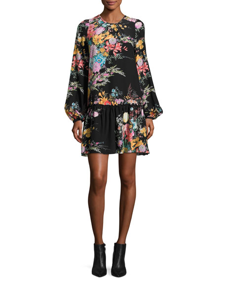 Atanacia Floral-Printed Silk Dress