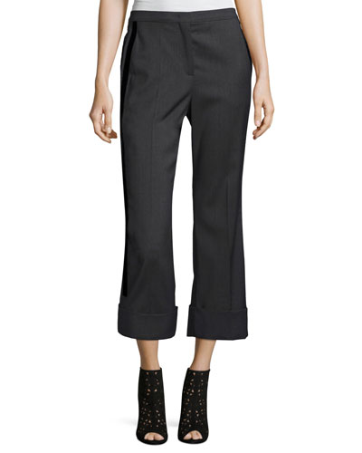 Paula Straight-Leg Mid-Rise Wool Pants