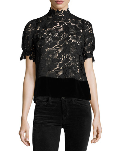 Farida Mock-Neck Short-Sleeve Blouse