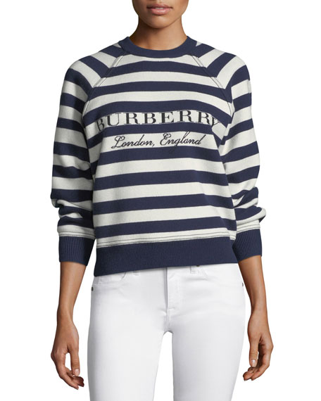 Burberry Selune Striped Logo Intarsia Sweater