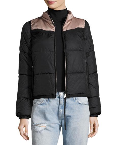 Patri Puffer Jacket w/ Feather Trim