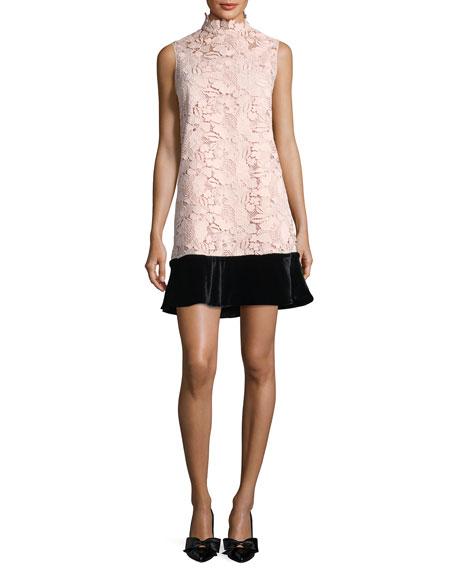 No. 21 Simona High-Neck Sleeveless Lace Dress w/