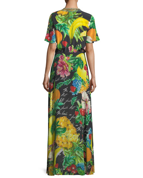 Tie-Front Short-Sleeve Floral-Print Silk Maxi Dress