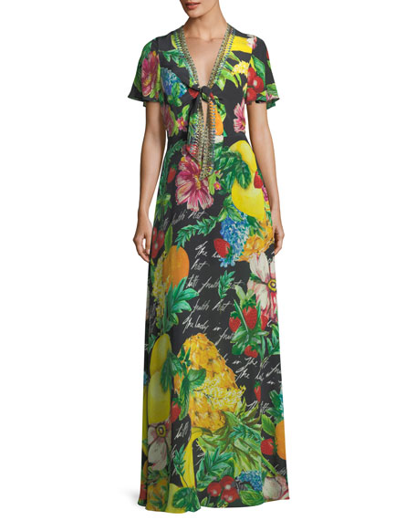Camilla Tie-Front Short-Sleeve Floral-Print Silk Maxi Dress