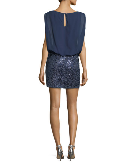 Blouson Embellished Combo Cocktail Dress