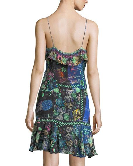 Sleeveless Wrap Mini Dress w/ Ruffle Frills