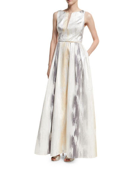 Aidan Mattox Sleeveless Organza Metallic Burnout Gown
