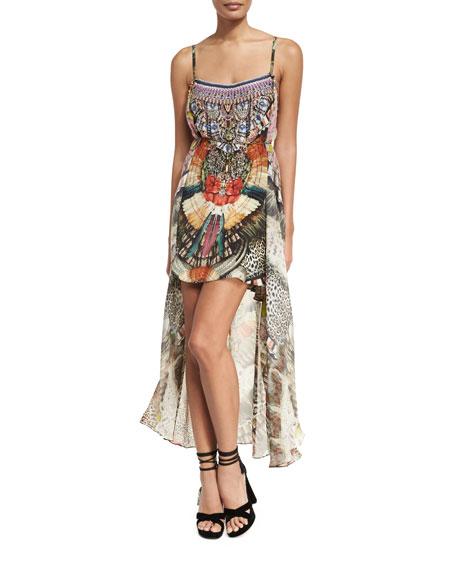 Camilla Sleeveless Square-Neck Embellished Mini Dress w/ Long
