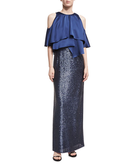 Aidan Mattox Cold-Shoulder Charmeuse Sequin Combo Gown