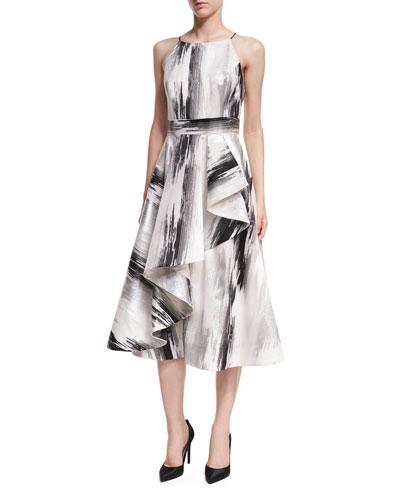 Sleeveless Brushstroke-Print Dress w/ Ruffled Skirt