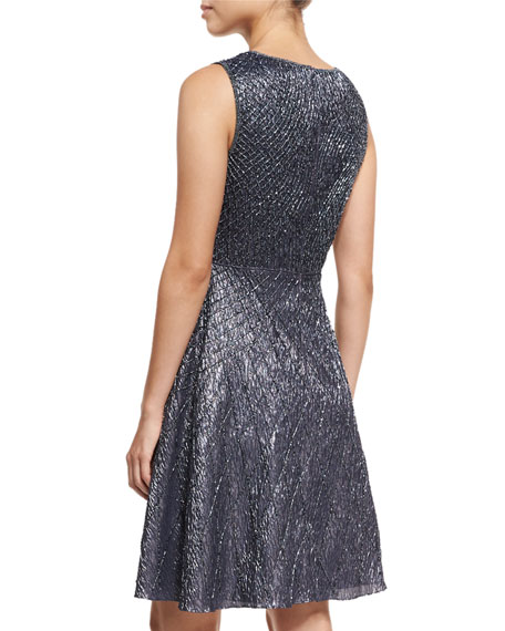 Sleeveless Lattice Beaded Fit-and-Flare Cocktail Dress