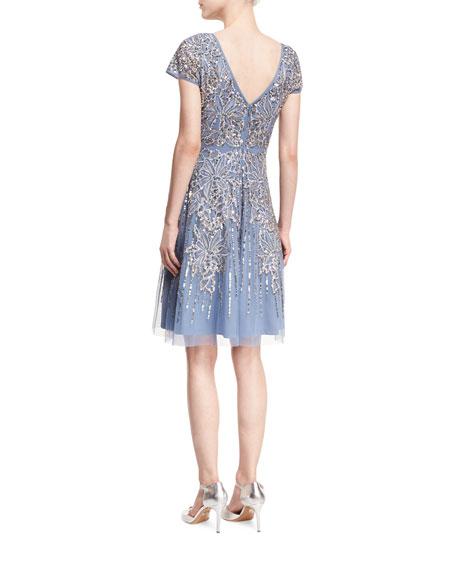 Short-Sleeve Beaded A-Line Cocktail Dress