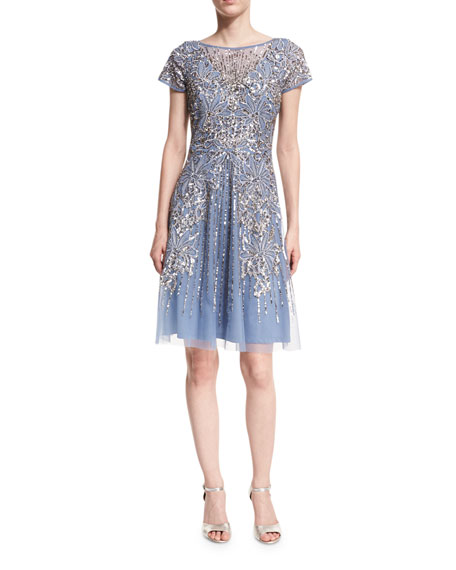 Aidan Mattox Short-Sleeve Beaded A-Line Cocktail Dress
