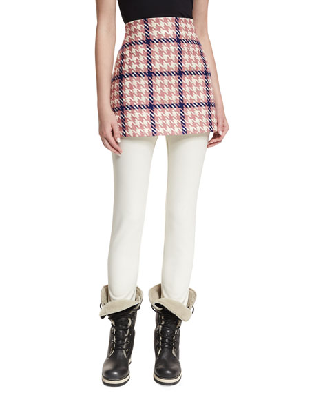 Moncler Gonna Houndstooth A-Line Mini Skirt