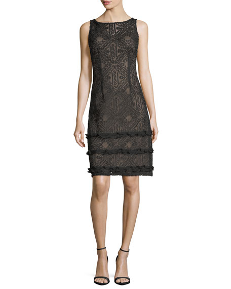 Aidan Mattox Sleeveless Boat-Neck Lace Cocktail Sheath Dress