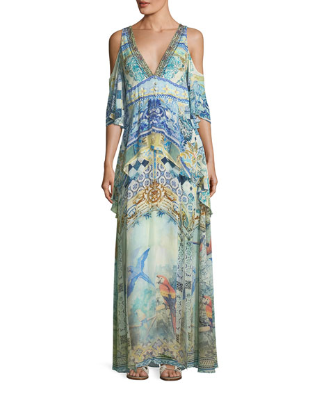 Camilla Deep-V Cold-Shoulder Peplum Maxi Coverup Dress