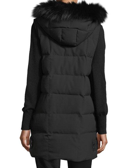 Hooded Puffer Vest w/ Fox Fur Trim