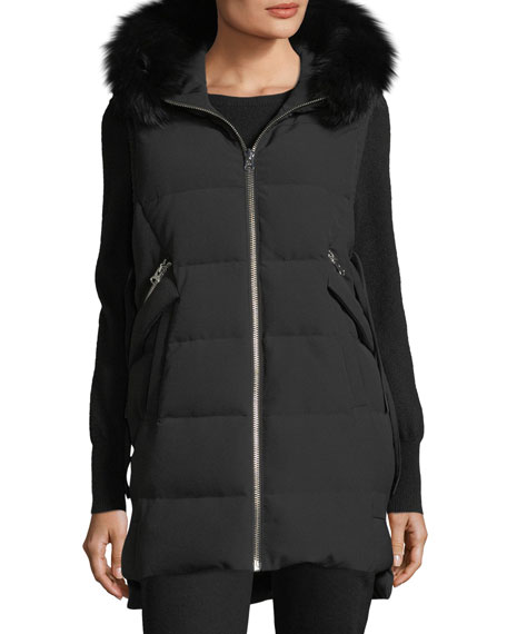 Hooded Puffer Vest w/ Fox Fur Trim