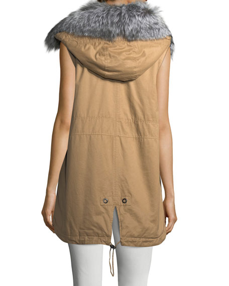 Cotton Zip-Front Utility Vest w/ Fur Trim
