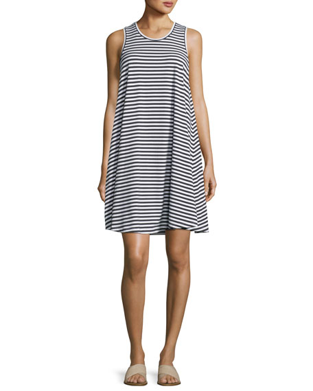 Sleeveless Striped Swing Jersey Dress