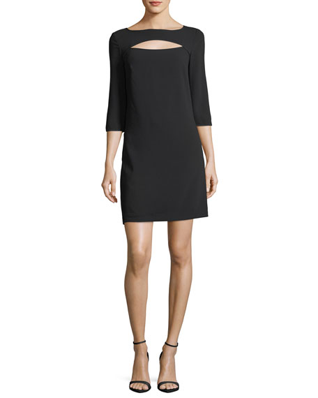 Boat-Neck Crepe Cutout Shift Dress