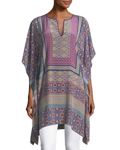 Split-Neck Draped Multi-Printed Kaftan Tunic