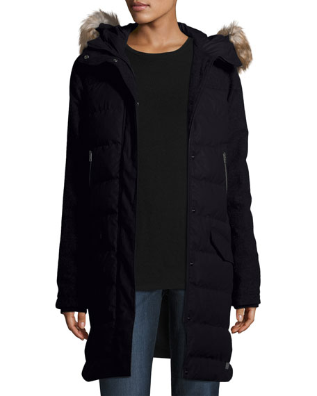 Tivoli Quilted-Puffer Long Jacket w/ Faux Fur