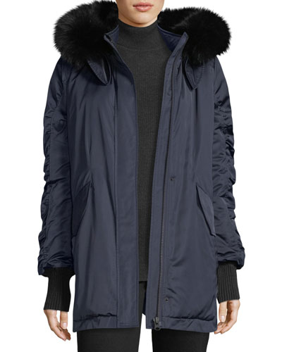 Satin Ruched-Sleeves Anorak Jacket w/ Fox Fur