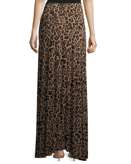 Animal-Print Long Full Convertible Skirt, Plus Size