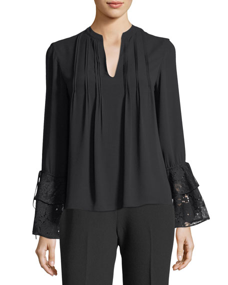 Josie Natori Long-Sleeve Lace-Cuff Pintucked Blouse