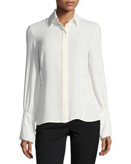 Josie Natori Long-Sleeve Silky Soft Button-Front Blouse