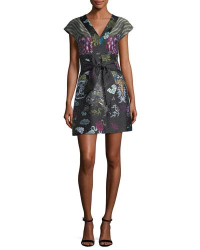 V-Neck Tie-Front Dragon Jacquard Dress