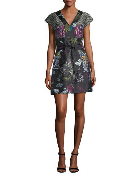Josie Natori V-Neck Tie-Front Dragon Jacquard Dress