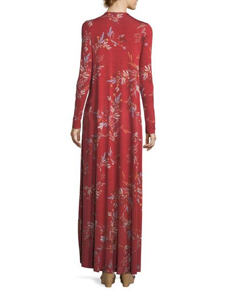 Long-Sleeve Floral-Print Maxi Dress