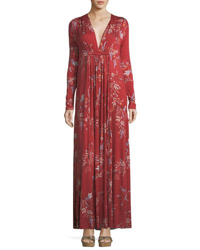 Long-Sleeve Floral-Print Maxi Dress, Plus Size