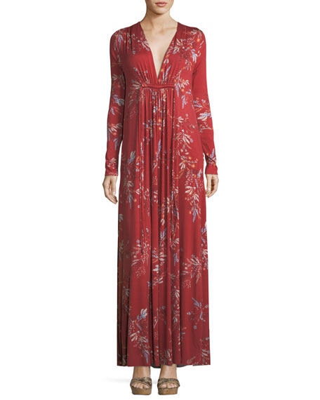 Rachel Pally Long-Sleeve Floral-Print Maxi Dress, Plus Size