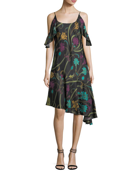 Josie Natori Cold-Shoulder Nouveau-Print Silk Dress