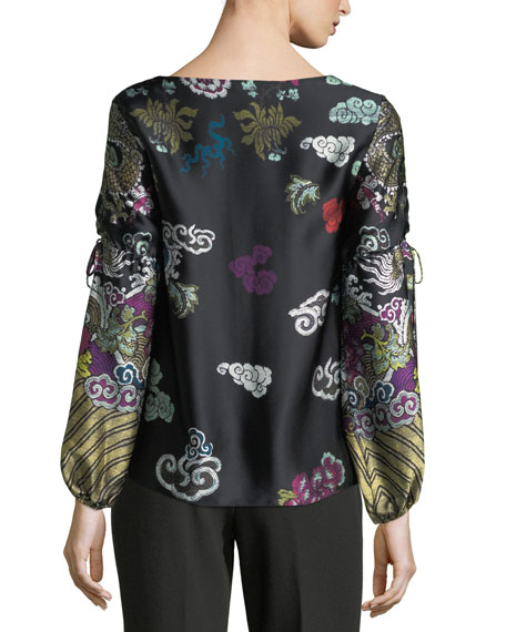 Tie-Sleeve Abstract Dragon-Print Silk Blouse