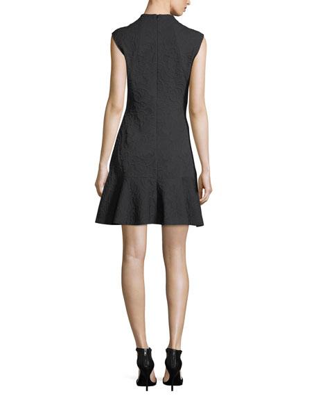 Sleeveless Mock-Neck Knit Jacquard Cocktail Dress