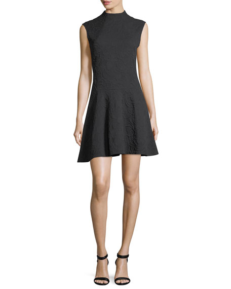 Josie Natori Sleeveless Mock-Neck Knit Jacquard Cocktail Dress