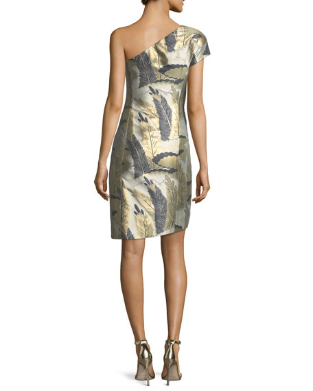 One-Shoulder Metallic Feather Jacquard Cocktail Dress