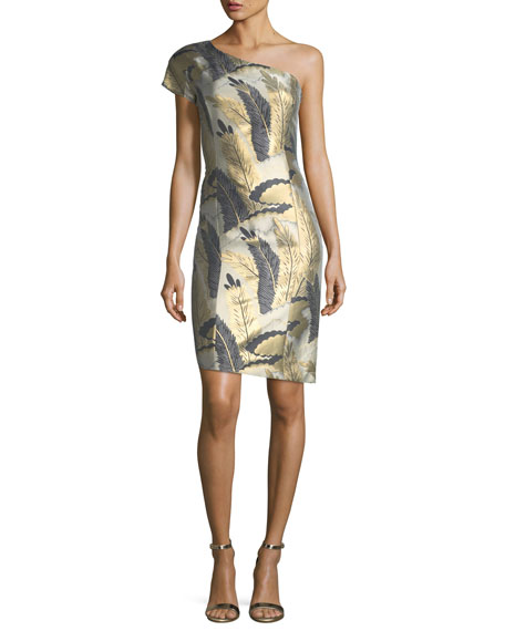 Josie Natori One-Shoulder Metallic Feather Jacquard Cocktail