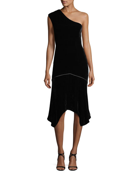 Josie Natori One-Shoulder Velvet Cocktail Dress